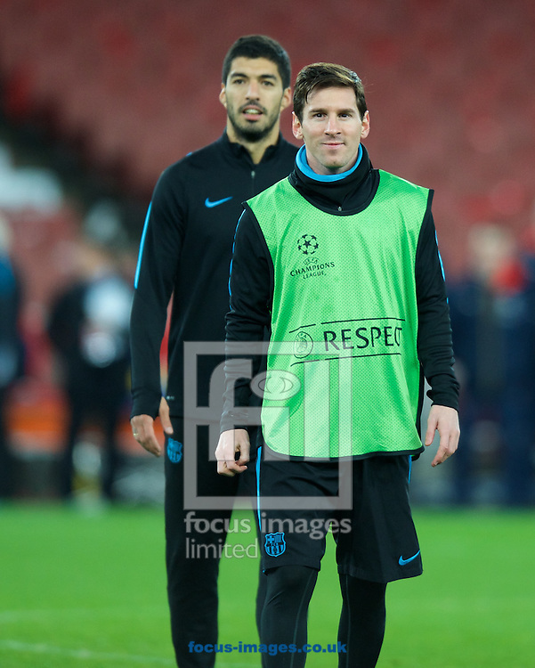 Lionel Messi (right) and Luis Suarez during the Barcelona training session at the Emirates Stadium, prior to their Champions League match against Arsenal tomorrow. London, England.<br /> Picture by Alan Stanford/Focus Images Ltd +44 7915 056117<br /> 22/02/2016