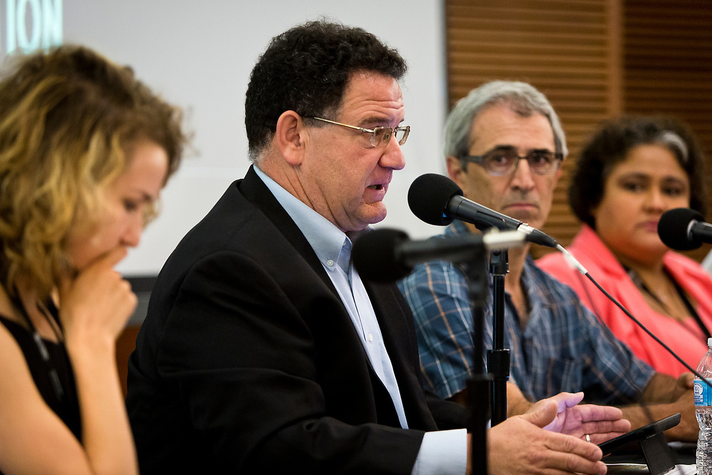 """Wisconsin State Assembly Representative Bob Kulp, center, speaks on the panel """"What's next for immigrant farm labor in Wisconsin?"""" at the Cap Times 2017 Idea Fest, Sunday, September 17, 2017"""