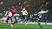 John Welsh and Liam Trotter battle during the Sky Bet Championship match between Preston North End and Nottingham Forest at Deepdale, Preston, England on 3 November 2015. Photo by Pete Burns.