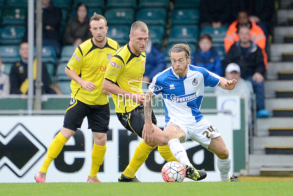 Bristol Rovers midfielder Stuart Sinclair in action during the The FA Cup match between Bristol Rovers and Chesham FC at the Memorial Stadium, Bristol, England on 8 November 2015. Photo by Alan Franklin.