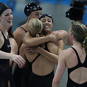 Missy Franklin, USA, left, and Dana Vollmer, congratulate Australian swimmers after the Women's 4 x 200m Freestyle Relay Final won by the USA at the Aquatic Centre at Olympic Park, Stratford during the London 2012 Olympic games. London, UK. 1st August 2012. Photo Tim Clayton
