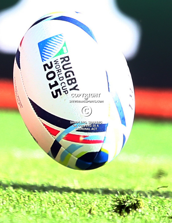 BIRMINGHAM, ENGLAND - SEPTEMBER 27: Match Ball during the Rugby World Cup 2015 Pool A match between Australia and Uruguay at Villa Park on September 27, 2015 in Birmingham, England. (Photo by Steve Haag/Gallo Images)