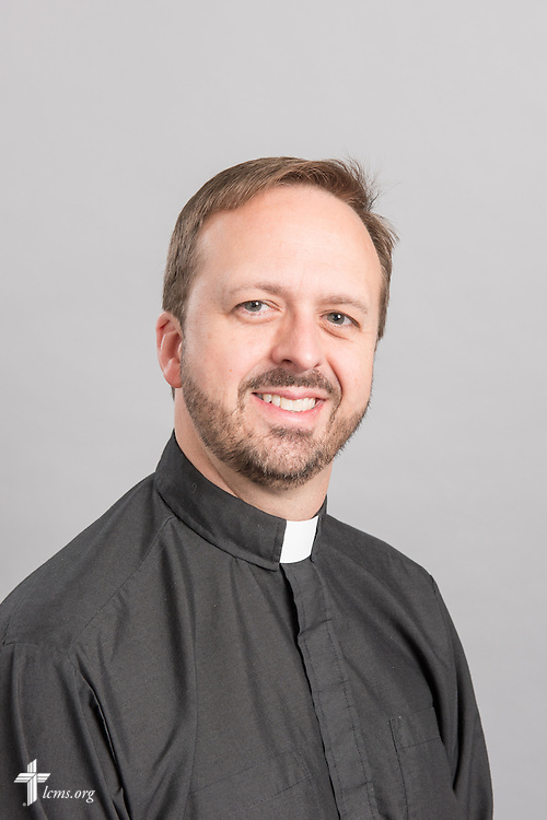 Headshot photograph of the Rev. Dr. Edward Grimenstein at the International Center of The Lutheran Church–Missouri Synod studio on Monday, March 30, 2015. LCMS Communications/Erik M. Lunsford