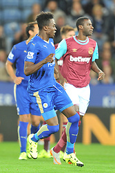 Joe Dodoo scores Leicester first goal and celebrtes, Leicester City v West Ham Utd, Carling Cup Round 3, King Power Stadium, Tuesday 22nd September 2015.Leicester City v West Ham Utd, Carling Cup Round 3, King Power Stadium, Tuesday 22nd September 2015.