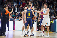 Real Madrid Facundo Campazzo and Juan Carlos Navarro and FC Barcelona Lassa XXX during Turkish Airlines Euroleague match between Real Madrid and FC Barcelona Lassa at Wizink Center in Madrid, Spain. December 14, 2017. (ALTERPHOTOS/Borja B.Hojas)