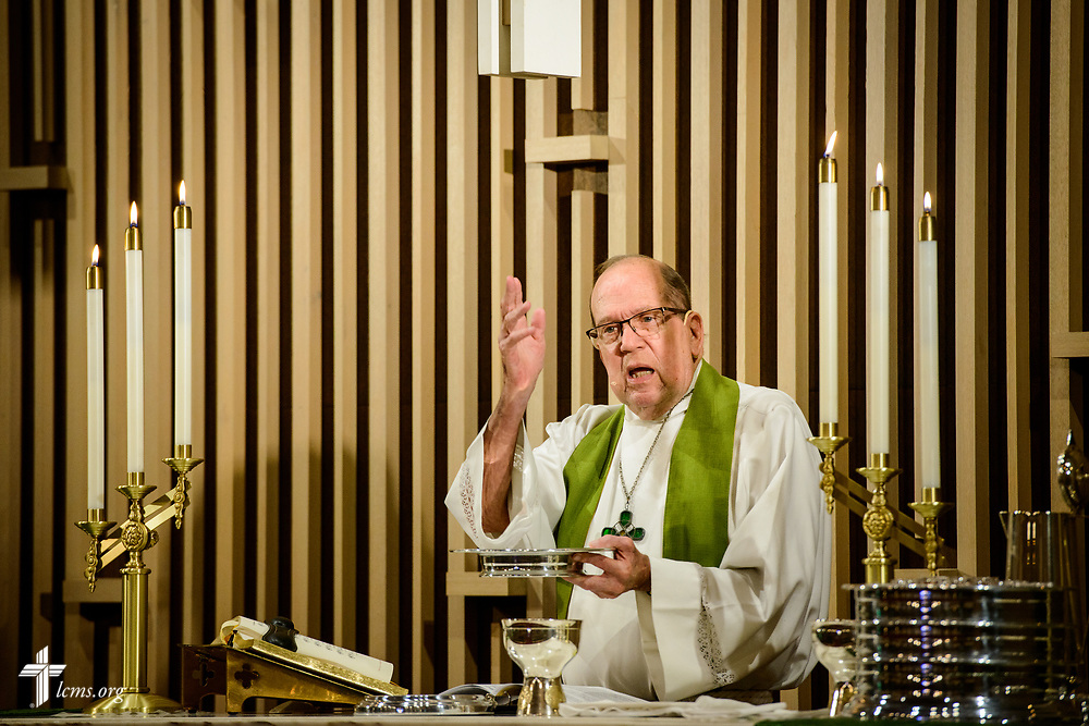 The Rev. Bill Qualman, pastor at Mt. Calvary Lutheran Church, La Grange, Texas, leads Divine Service at the church on Sunday, Sept. 3, 2017. Last week, only a handful of church members who weren't trapped by the floodwaters made it to worship. A week after Hurricane Harvey the pews filled up again after the waters receded. LCMS Communications/Erik M. Lunsford