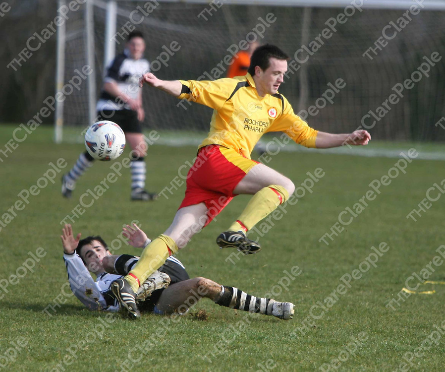 David Monahan and Caoimhin Phillipshon  in action during the Avenue V Moher Celtic match at Lees Road on Sunday.<br /> <br /> Photograph by Eamon Ward