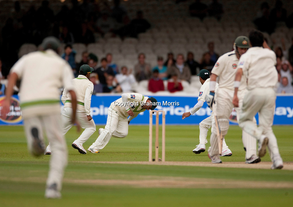 Imran Farhat catches Michael Hussey first ball off Umar Gul during the MCC Spirit of Cricket Test Match between Pakistan and Australia at Lord's.  Photo: Graham Morris (Tel: +44(0)20 8969 4192 Email: sales@cricketpix.com) 14/07/10