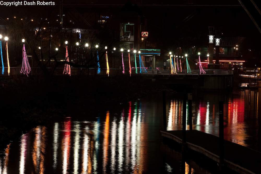 Christmas lights along the pedestrian walkway on Volunteer Landing in Knoxville, Tennessee.