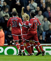 Photo: Jed Wee.<br />Middlesbrough v Manchester Utd. The Barclays Premiership. 29/10/2005.<br /><br />Middlesbrough's Gaizka Mendieta (C) celebrates after giving Middlesbrough the lead.
