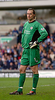 Photo. Glyn Thomas, Digitalsport.<br /> Blackburn Rovers v Leicester City. <br /> FA Barclaycard Premiership. 17/04/2004.<br /> Leicester keeper Ian Walker looks on dejectedly after his side's 1-0 defeat.