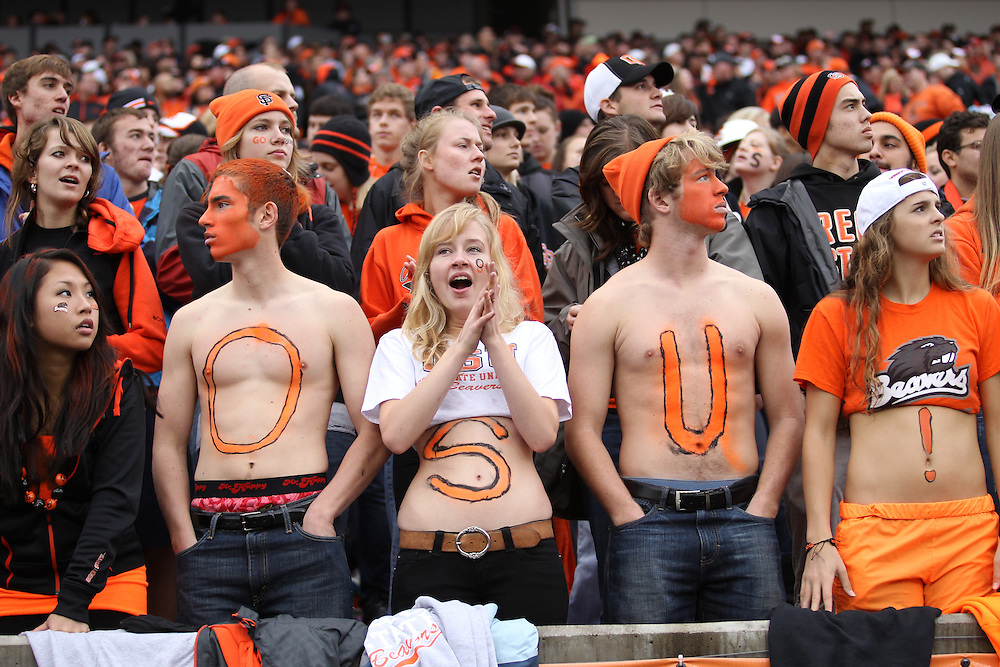 CORVALLIS, OR - OCTOBER 30: Fans of the Oregon State Beavers  cheer during the game against the California Golden Bears at Reser Stadium on October 30, 2010 in Corvallis, Oregon. (Photo by Tom Hauck) Player: