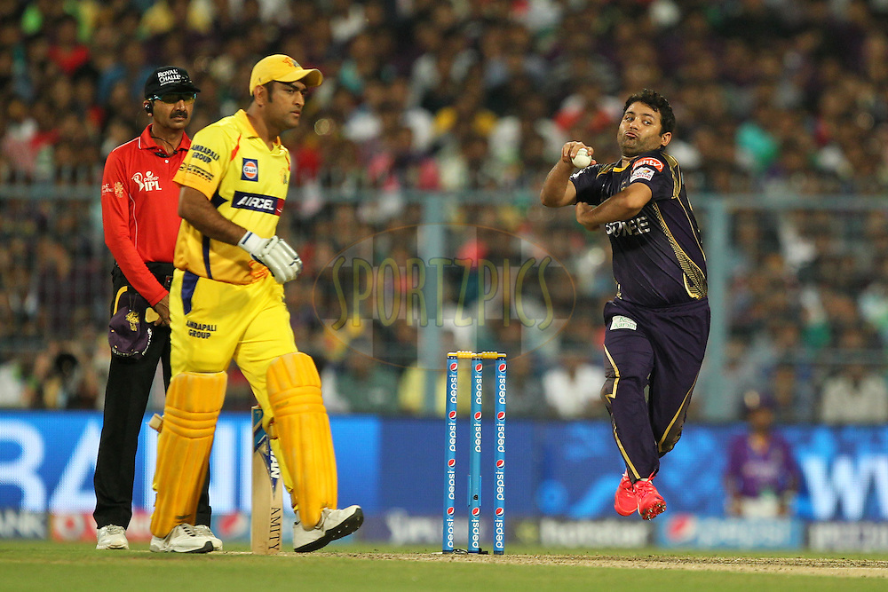 Piyush Chawala of Kolkata knight Riders during match 30 of the Pepsi IPL 2015 (Indian Premier League) between The Kolkata Knight Riders and The Chennai Superkings held at Eden Gardens Stadium in Kolkata, India on the 30th April 2015.Photo by:  Prashant Bhoot / SPORTZPICS / IPL