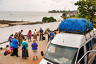 Members of the LCMS Mercy Medical Team pray before departing a hotel in Freetown, Sierra Leone, West Africa, on Sunday, May 6, 2018. The team traveled to Koidu, a city in the northeast part of the country. LCMS Communications/Erik M. Lunsford