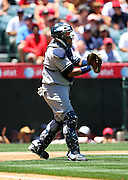 ANAHEIM, CA - JULY 12:  Catcher Jose Molina #26 of the New York Yankees sends signals to the infield during the game against the Los Angeles Angels of Anaheim at Angel Stadium on Sunday, July 12, 2009 in Anaheim, California.  The Angels defeated the Yankees 5-4 and swept the three game series.  (Photo by Paul Spinelli/MLB Photos via Getty Images)  *** Local Caption *** Jose Molina