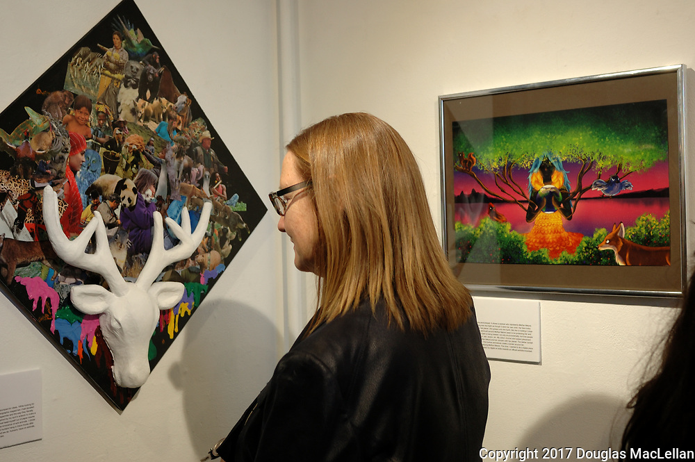 """CANADA, Windsor. May, 2017. """"Working with the Environment"""" at Artspeak Gallery, high school student art exhibition, sponsored by UNIFOR 200. Part of MayWorks Windsor 2017 programming."""