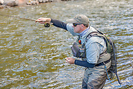 Sean Crocker with team Freestone from Pennsylvania fishes on the Roaring Fork River near Basalt, Colorado.