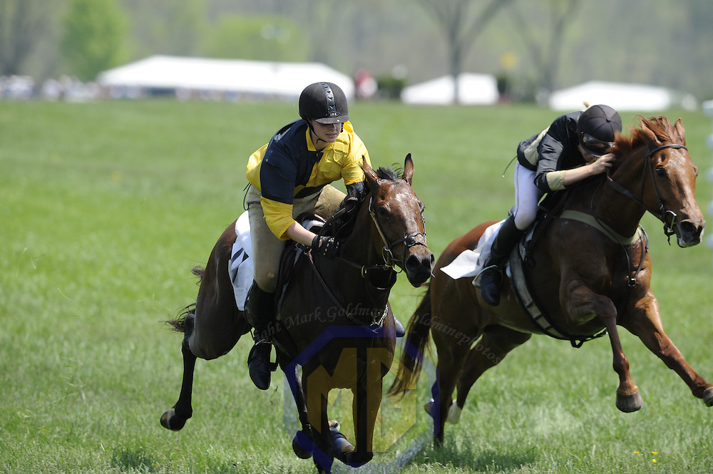 03 May 2008:  Scarlett Lovett aboard Strange Fruit (L) leads Sarah Green aboard Sing and Hoist (R) in the Junior Virginia Gold Cup of the 83rd running of the Virginia Gold Cup Races on October 20, 2007 at the Great Meadow in The Plains, Va..