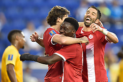 July 7, 2017 - Harrison, New Jersey, U.S - Canada midfielder ALPHONSO DAVIES (12) celebrates Canada's first goal during CONCACAF Gold Cup 2017 at Red Bull Arena in Harrison New Jersey Canada defeats French Guiana 4 to 2. (Credit Image: © Brooks Von Arx via ZUMA Wire)