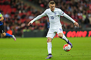 England's Jamie Vardy on the ball during the UEFA European 2016 Qualifier match between England and Estonia at Wembley Stadium, London, England on 9 October 2015. Photo by Shane Healey.