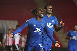 Ivan Toney of Peterborough United celebrates his goal against Exeter City - Mandatory by-line: Joe Dent/JMP - 04/12/2018 - FOOTBALL - St James Park - Exeter, England - Exeter City v Peterborough United - Checkatrade Trophy