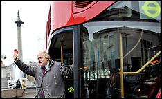 London Mayor Boris Johnson on a new prototype red double decker bus