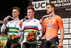 March 4, 2018 - Apeldoorn, Netherlands - Matthew Glaetzer (AUS), Jeffrey Hoogland (NED), Theo Bos (NED) - Men's 1km time trial .during UCI Track Cycling World Championships Apeldoorn 2018, in Apeldoorn, Netherlands, on March 4, 2018. (Credit Image: © Foto Olimpik/NurPhoto via ZUMA Press)