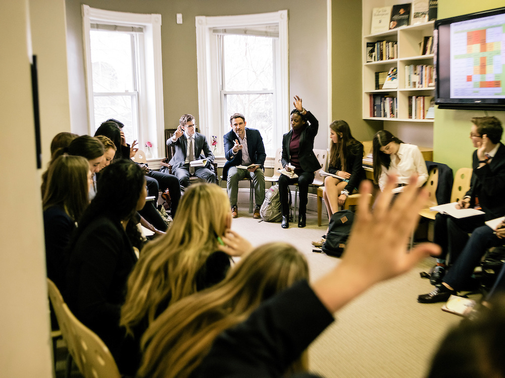 WASHINGTON, DC - FEB 3 Noah Bopp, Founder and Head of The School for Ethics and Global Leadership, leads a discussing during english class, on Feb, 3, 2017. (Photo by Greg Kahn/GRAIN for The Washington Post)