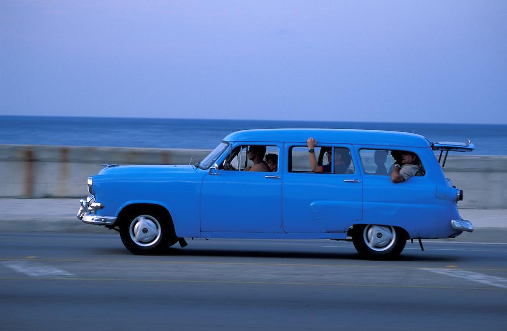 Classic Car on Malecon, La Habana, Havana, Cuba, Caribbean