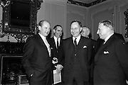 09/02/1965<br /> 02/09/1965<br /> 09 February 1965<br /> Prime Minister of Northern Ireland, Captain Terence O'Neill visits Taoiseach Sean Lemass in Dublin. Picture shows Mr Jack Lynch, Minister for Industry and Commerce; Captain Terence O'Neill and Mr. Sean Lemass after their talks in Dublin at the the Department of External Affairs.