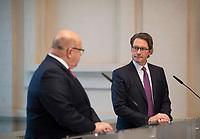 DEU, Deutschland, Germany, Berlin, 13.12.2019: Bundeswirtschaftsminister Peter Altmaier (CDU) und Bundesverkehrsminister Andreas Scheuer (CSU) bei einem Pressestatement im Rahmen des Spitzengesprächs zum Masterplan Ladeinfrastruktur.