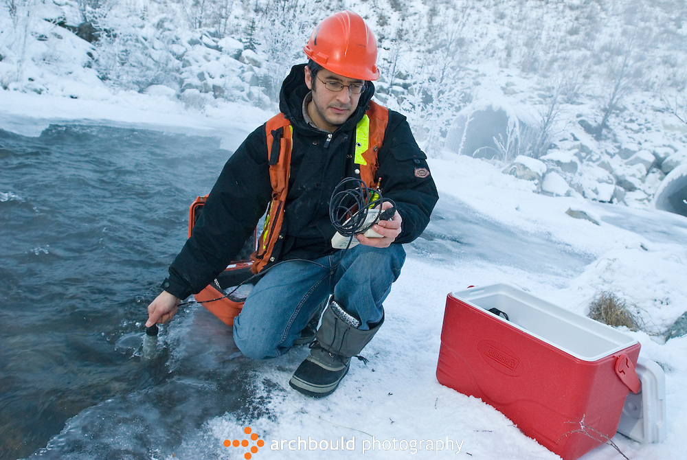 Wnter water sampling, Yukon, Canada.<br /> <br /> NOT IN YOUR BUDGET? Contact Cathie for a price specific to your project.
