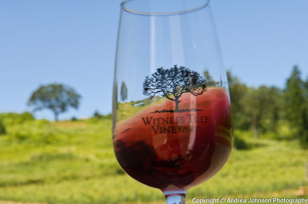 Pinot Noir swirling in glass, Witness Tree Winery, Willamette Valley, Oregon