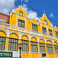 Penha Building in Punda, Eastside of Willemstad, Cura&ccedil;ao <br />