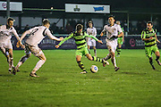 Forest Green Rovers Elliott Frear(11) shoots at goal misses the target during the FA Trophy match between Truro City and Forest Green Rovers at Treyew Road, Truro, United Kingdom on 13 December 2016. Photo by Shane Healey.