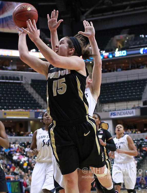 March 03, 2012; Indianapolis, IN, USA; Purdue Boilermakers guard Courtney Moses (15) shoots the ball against the Penn State Lady Lions during the semifinals of the 2012 Big Ten Tournament at Bankers Life Fieldhouse. Purdue defeated Penn State 68-66. Mandatory credit: Michael Hickey-US PRESSWIRE