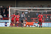 Crawley Town forward James Collins (19) pulls a goal back from the penalty spot (1-3) during the EFL Sky Bet League 2 match between Crawley Town and Morecambe at the Checkatrade.com Stadium, Crawley, England on 18 February 2017. Photo by David Charbit.