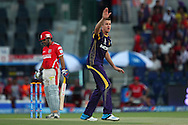 Morne Morkel of the Kolkata Knight Riders appeals for the wicket of Virender Sehwag of the Kings X1 Punjab during match 15 of the Pepsi Indian Premier League 2014 Season between The Kings XI Punjab and the Kolkata Knight Riders held at the Sheikh Zayed Stadium, Abu Dhabi, United Arab Emirates on the 26th April 2014<br /> <br /> Photo by Ron Gaunt / IPL / SPORTZPICS