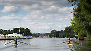 Henley on Thames, England, United Kingdom, Saturday, 06.07.19, E.K. Twigg New Zealand, NZL, (Right) and <br /> D. Dymchenko Ukraine, UKR, (Left) racing along the Temple Island, at the Start, of the Princess Royal Challenge Cup, Henley Royal Regatta,  Henley Reach, [©Karon PHILLIPS/Intersport Images]<br /> <br /> 10:20:27 1919 - 2019, Royal Henley Peace Regatta Centenary,