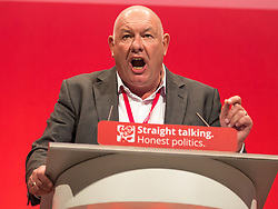 © Licensed to London News Pictures . 28/09/2015 . Brighton , UK . DAVE WARD of the Communication Workers Union speaking at the 2015 Labour Party Conference . Photo credit : Joel Goodman/LNP