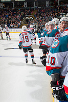 KELOWNA, CANADA - FEBRUARY 13: Dillon Dube #19 of the Kelowna Rockets skates past the bench in celebration of a goal ]against the Seattle Thunderbirds on February 13, 2017 at Prospera Place in Kelowna, British Columbia, Canada.  (Photo by Marissa Baecker/Shoot the Breeze)  *** Local Caption ***
