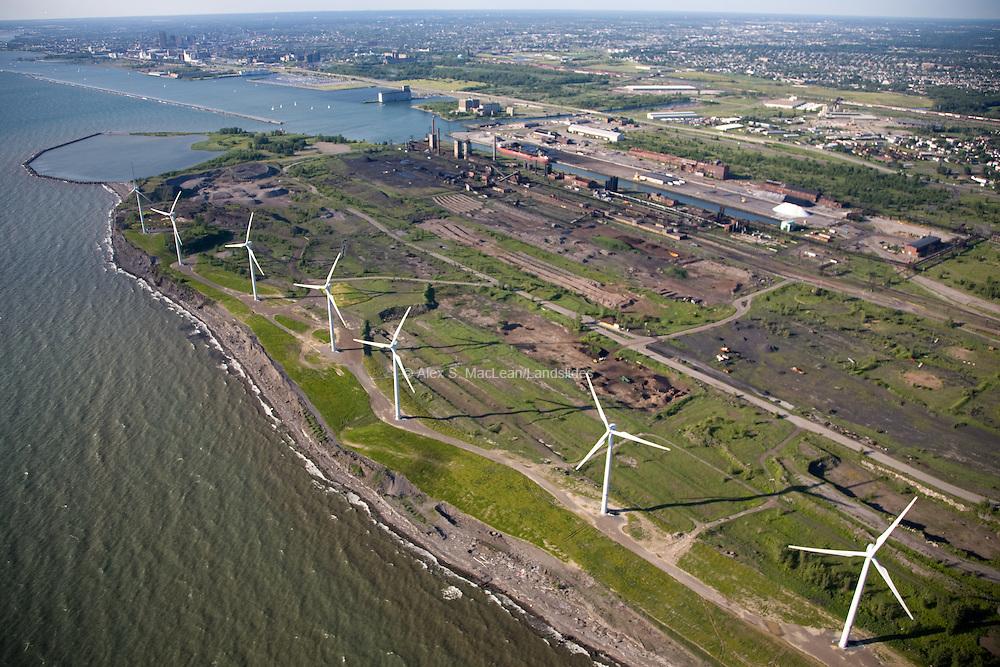 Wind turbines on abandoned Lackawanna Steel Mill site on Lake Erie.