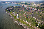 Wind turbines on abandoned Lackawanna Steel Mill site on Lake Erie.