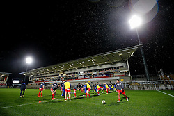 General View as Bristol Rugby warm up ahead of the game - Mandatory byline: Rogan Thomson/JMP - 13/11/2015 - RUGBY UNION - Kingspan Stadium - Belfast, Northern Ireland - Ulster Ravens v Bristol Rugby - The British & Irish Cup Pool 2.