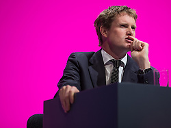 © Licensed to London News Pictures . 21/09/2014 . Manchester , UK . Shadow Education Secretary TRISTRAM HUNT on stage at the Labour Party Conference in Manchester this afternoon (21st September 2014) . 2014 Labour Party Conference . Photo credit : Joel Goodman/LNP