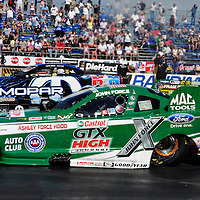 John Force head to head with Matt Hagan at Full throttle drag racing series, National Hot Rod Association 2011
