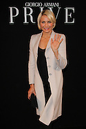 PARIS, FRANCE - JANUARY 24:  Cameron Diaz arrives at the Giorgio Armani Prive Haute-Couture Spring / Summer 2012 show as part of Paris Fashion Week at Grand Palais on January 24, 2012 in Paris, France.  (Photo by Tony Barson/WireImage)