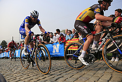 Belgian Champion Yves Lampaert (BEL) and Kasper Asgreen (DEN) Deceuninck-Quick Step climb the Paterberg for the last time during the 2019 Ronde Van Vlaanderen 270km from Antwerp to Oudenaarde, Belgium. 7th April 2019.<br /> Picture: Eoin Clarke | Cyclefile<br /> <br /> All photos usage must carry mandatory copyright credit (© Cyclefile | Eoin Clarke)