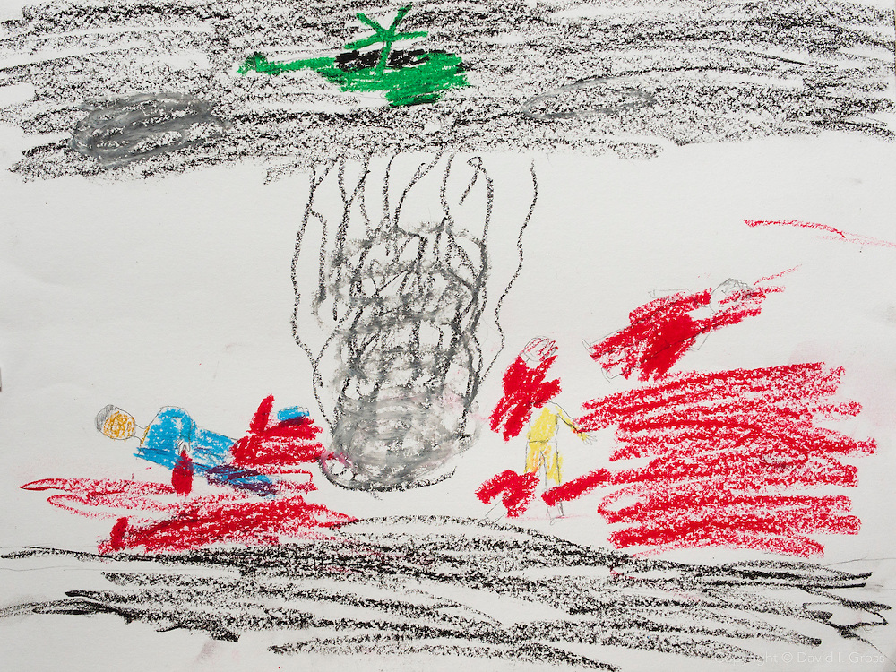 """A big bomb falls from a plane. All the people died and their bodies are in pieces."" Drawing by Syrian girl, age 13. (Topic for this session: dealing with loss.)"