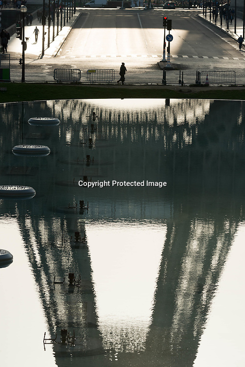 France. Paris. 16th district. the Eiffel tower reflected in a water bassin. view from the Trocadero esplanade,
